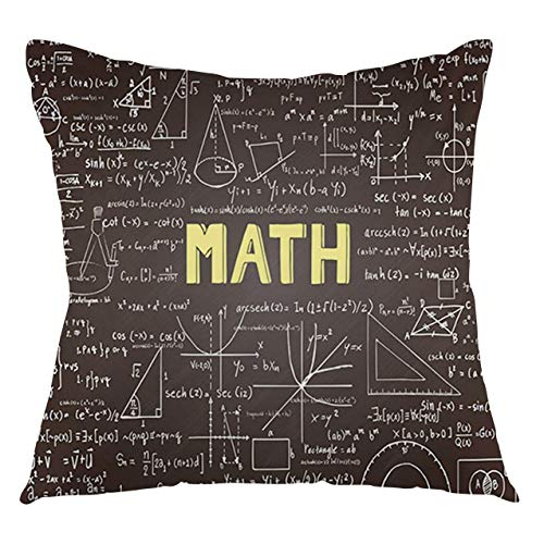 FULIYA Mathematics Classroom Throw Pillow Cushion Cover Dark Blackboard Word Math Equations Geometry Axis Decorative Square Accent Pillow Case, 20' X 20',Dark Brown White Yellow