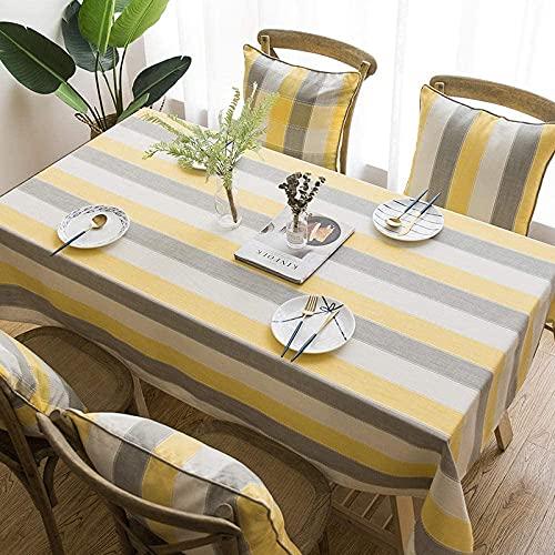GCXZB Rectangular Oblong Mesas de Mesa de algodón Reutilizable para el hogar Decoración Decoración Cocina Jardín Mantel de Exterior Gris 135 × 220cm Manteles (Color : Yellow, Size : 135×135cm)