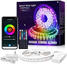 40ft Smart LED Strip Lights, WiFi RGB LED Strip Compatible with Alexa Google, APP and Remote Control, Music Sync Color Changing LED Tape Light for Bedroom, Ceiling, Home Decoration, 1 Reel, MikeWin