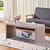 goldfan tavolino da caffè rettangolare mobile tv tavolino da salotto moderno con vetro temperato ripiano,tavolino per divano moderno,100x45x45cm