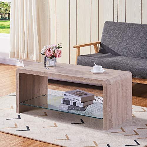GOLDFAN Couchtisch Glas Hellbraun Holz Rechteckiger Tisch Wohnzimmertisch TV Tische Modern Kaffetisch für Schlafzimmer Büro