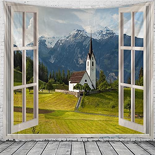Tapiz de paisaje de ventana 3D hippie pared estilo boho tapiz decorativo tapiz manta tela de fondo A2 150x200cm