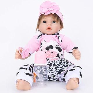 JTYX DOLLS Simulation Baby Cloth Body Soft Silicone Reborn Doll Blue Eyes Short Yellow Hair Girl Realistic Doll Children Birthday Gift Toys (Not Washable),Color1,55cm