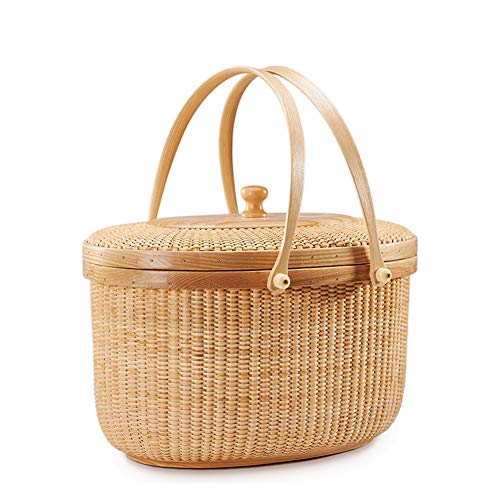 MOXIN Hand Made Wicker Woven Picnic Basket Shopping Bags Storage with Lid and Folding Handles, Portable Fashion Groceries Gifts, Beach Bag Big Totes Storage Bag,Ashwood