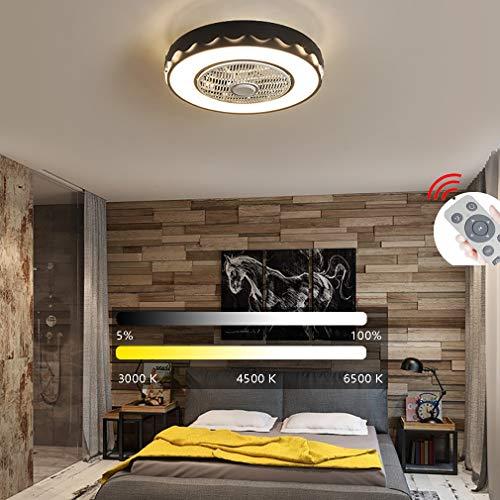 YaoXI Plafondventilator met verlichting, stille led, dimbaar, met afstandsbediening, instelbare windsnelheid, plafondlamp voor kinderen, slaapkamer, eetkamer