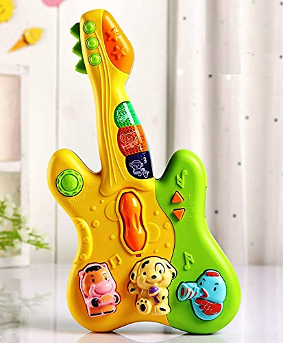 FI - FLICK IN Cute Musical Guitar Toy with Colorful Animal Keys, Songs and Sound and Light Effects Toys for Kids, Baby ,Infant Toddlers, Toy for Boys and Girls (Pack of 1) (Multicolor)