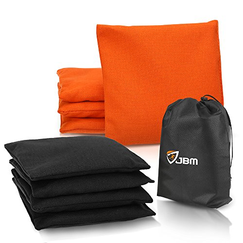 JBM Cornhole Bag (Pack of 8) Weather Resistant Cornhole Bags with Recycled Plastic Pellets for Tossing Corn Hole Game - Free Carrying Bag Included (Orange & Black, 14OZ)