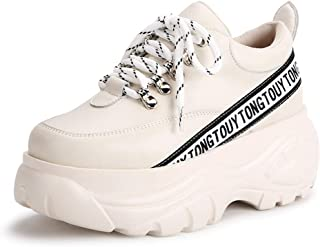 Women's Sneakers 2019 New Microfiber Sports Shoes Low-Top Casual Shoes Lace Up Fashion Platform Shoes White Black Beige,Beige,38
