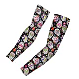 FOR U DESIGNS Arm Sleeves for Men and Women, Sugar Skull Print, Tattoo Cover Up, Sun Protection, Cooling UPF 50 Compression - Basketball, Running Size M