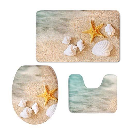 UNICEU 3 Piece Bathroom Rug Set Starfish Sea Shell on Beach Design Non Slip Bath Rugs U Shaped Contour Toilet Mat and Toilet Lid Cover
