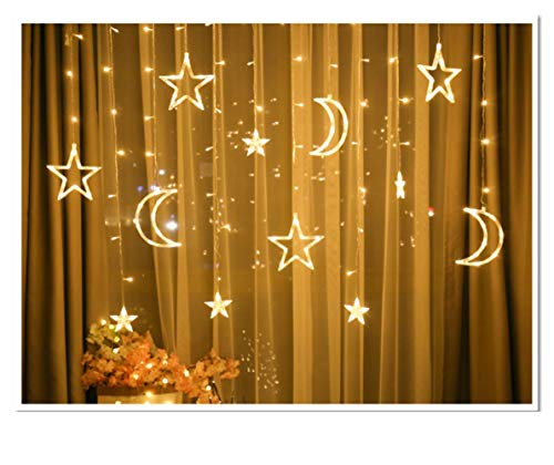 FANHHUI 11.5 FT 138LED 8 Flashing Modes Moon Star LED Curtain String Light Window Moon Star String Light for Ramadan Wedding Party Home Garden Bedroom Outdoor Indoor Wall Decorations (Warm White)