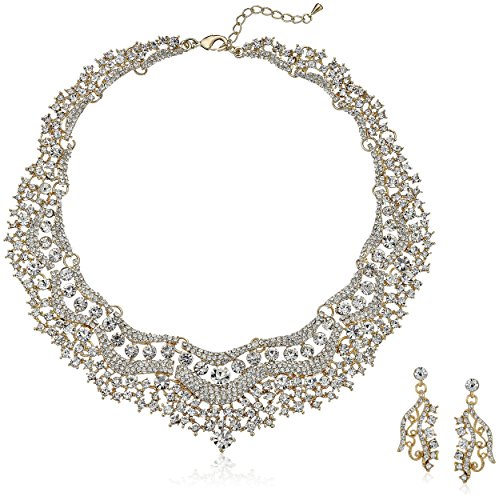 ACCESSORIESFOREVER Bridal Wedding Prom Jewelry Set Crystal Rhinestones Stunning Bib Necklace Gold