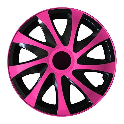 (Farbe und Größe wählbar) 14 Zoll Radkappen DRACO (Schwarz-Pink) passend für fast alle Fahrzeugtypen (universal)