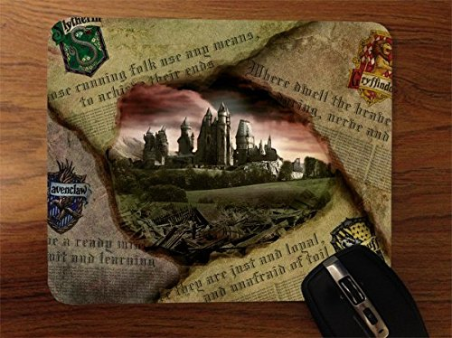 Hufflepuff Gryffindor Hogwarts Slytherin Ravenclaw Newspaper Design Pattern Print Desktop Office Silicone Mouse Pad by Trendy Accessories