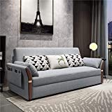 Home Equipment Sofá Cama convertible Sofá cama plegable de madera maciza con función de caja de almacenamiento Sofá multifuncional futón extraíble para muebles de sala de estar Cojinete fuerte gris