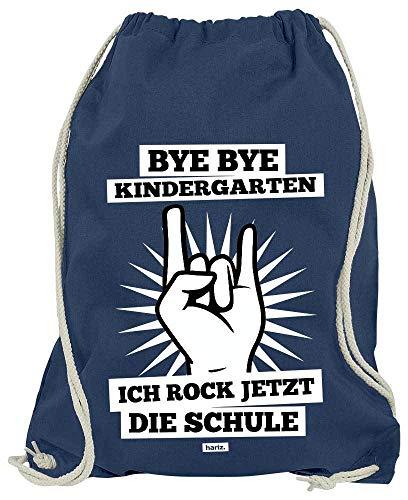 HARIZ Turnbeutel Bye Bye Kindergarten Ich Rock Jetzt Die Schule Einschulung Inkl. Geschenk Karte Navy Blau One Size