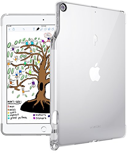 iPad 9.7 Case, Poetic Lumos TPU Cover with [Pencil Holder] [Apple Smart Cover Compatible] Ultra-Thin Impact Resistant Flexible Soft TPU Case for iPad 9.7 (6th Gen 2018) (5th Gen 2017) Crystal Clear