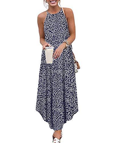 CNFIO Ärmellos Kleid Damen Strandkleider Blumendruck Kleider Elegantes Sommerkleid Trägerlose Frauen Sexy Kleid B-Navy Blau S