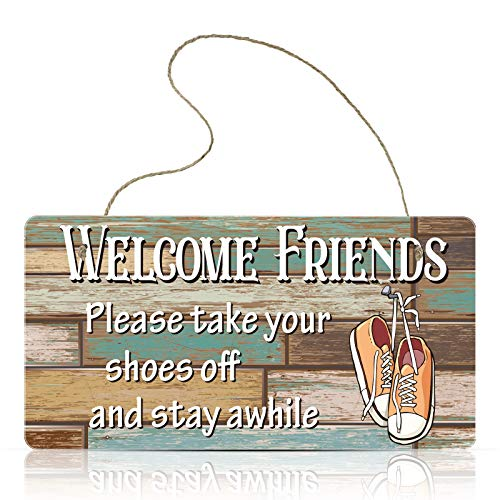Jetec Wooden Hanging Shoes Off Sign Please Take Your Shoes Off and Stay Awhile Sign 9.8 x 5.1 Inch for Wall Art Home Decor