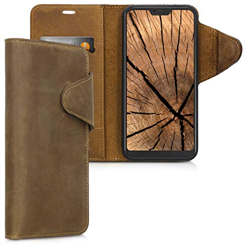 Case Compatible with Xiaomi Redmi 6 Pro/Mi A2 Lite - Genuine Leather Book Style Protective Cover with Card Slot -