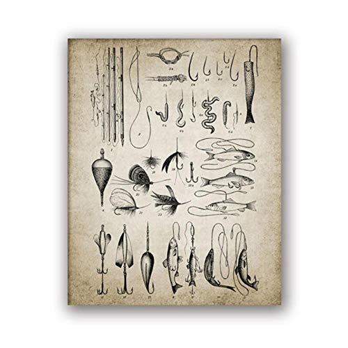 MULMF Vintage Angelausrüstung Druck Angelrute Haken Locken Angeln Wand Poster Kunst Leinwand Malerei Bild Fischer Geschenk-50x70 cm kein Rahmen