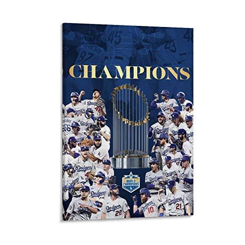 HULANG Póster de La Dodgers World Series Champs 2020 sobre lienzo con impresión artística moderna para habitación familiar, 20 x 30 cm