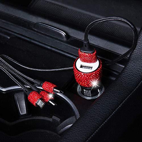 Cargador de coche Crystal Dual USB Bling Bling Hecho a mano Adaptador de carga del coche 1M Cable de carga rápida para iPhone iPad Pro Air 2 Mini Samsung Galaxy Note 9 8 S9 S9+ LG