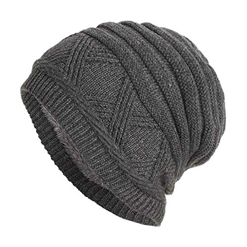 URIBAKE ❤ Fashion Unisex Knitted Cap Fleece Padded Hedging Head Hat Beanie Outdoor Ski Hat Gray
