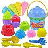 Tcvents 18 Pieces Beach Toys Ice Cream Mold Set, Sand...