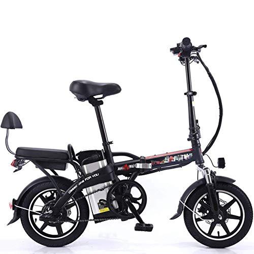 GJJSZ Nueva Bicicleta eléctrica Plegable Scooter eléctrico de ciclomotor eléctrico 350W con batería de Litio extraíble de Gran Capacidad 48V8A