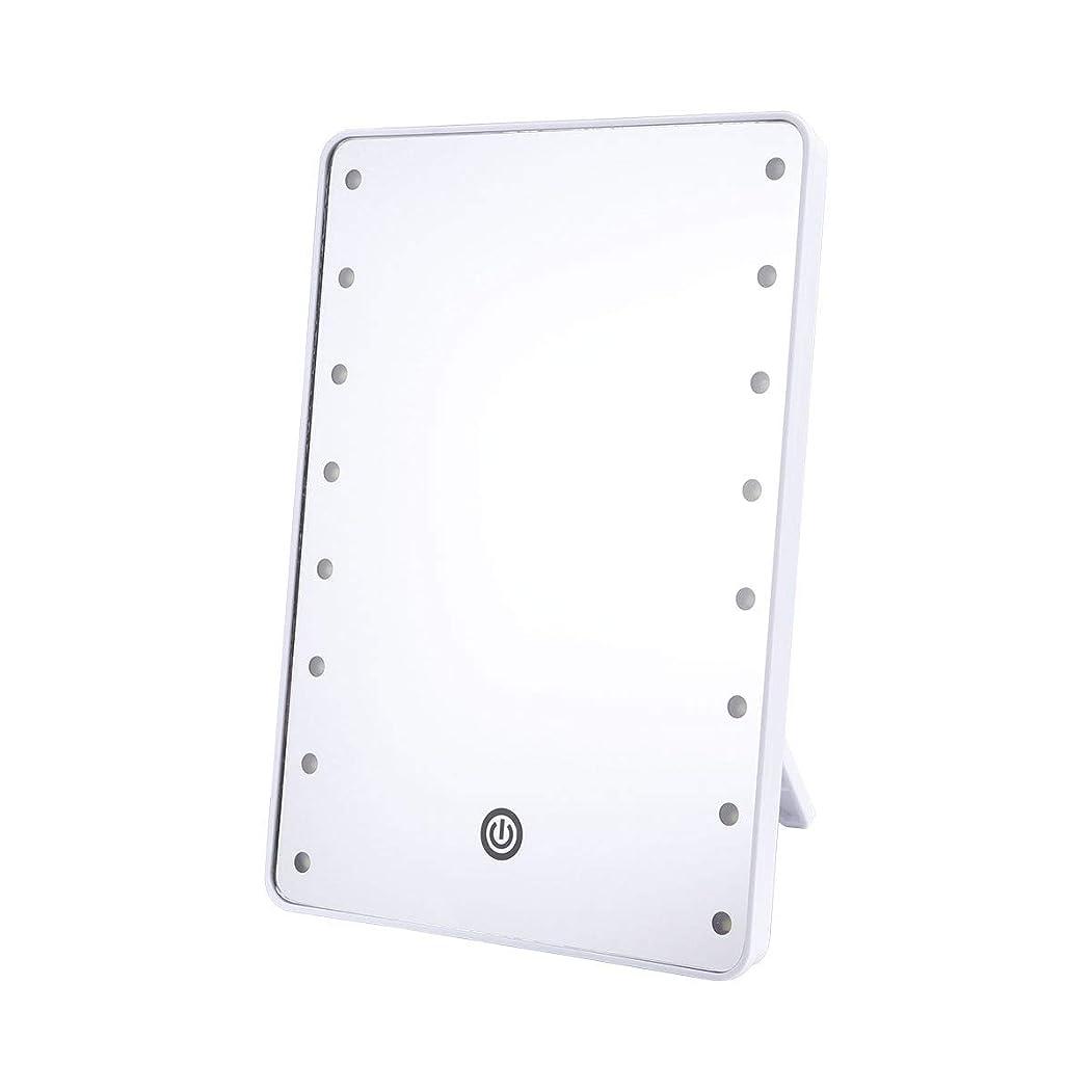 毎月消費観察Frcolor 化粧鏡 卓上ミラー LEDライトミラー 16灯 スタンドミラー 角度調整可能 女優ミラー 電池給電 メイクアップミラー プレゼント(ホワイト)