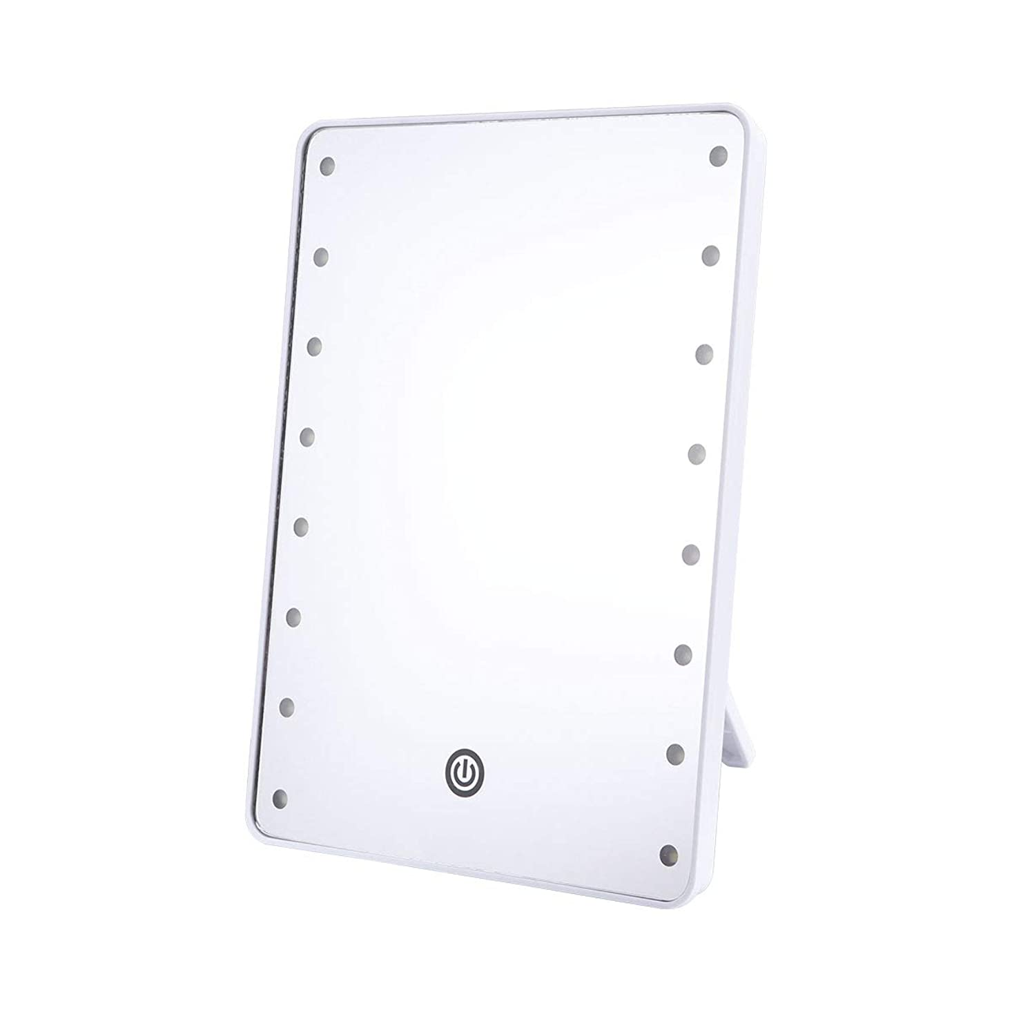 クライストチャーチ革新寛容なFrcolor 化粧鏡 卓上ミラー LEDライトミラー 16灯 スタンドミラー 角度調整可能 女優ミラー 電池給電 メイクアップミラー プレゼント(ホワイト)