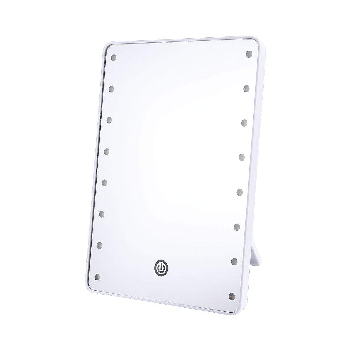 ひねくれた靄ウミウシFrcolor 化粧鏡 卓上ミラー LEDライトミラー 16灯 スタンドミラー 角度調整可能 女優ミラー 電池給電 メイクアップミラー プレゼント(ホワイト)