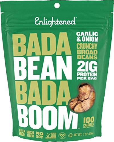 Bada Bean Bada Boom Plant-based Protein, Gluten Free, Vegan, Non-GMO, Soy Free, Kosher, Roasted Broad Fava Bean Snacks, Garlic & Onion, 3 Ounce (6 Count)