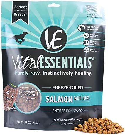 Vital Essentials Freeze Dried Grain Free Salmon Mini Nibs Dog Food 14 oz product image
