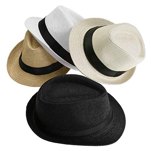 FALETO Unisex Summer Panama Straw Fedora Hat Short Brim Beach Sun Cap Classic (#011 Pack for 4 Colros)