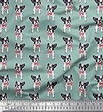 Soimoi Blau Poly Georgette Stoff Bogen und Boston-Terrier
