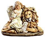 Joseph's Studio by Roman - Angel with Lion and Lamb Figure, Renaissance Collection, 11.5' H, Resin and Stone, Tabletop or Desk Display Decoration, Collection, Durable, Long Lasting