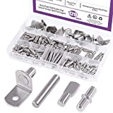 Swpeet 120Pcs 4 Styles Shelf Pins Kit, Top Quality Nickel Plated Shelf Bracket Pegs Cabinet Furniture Shelf Pins Support for Shelf Holes on Cabinets, Entertainment Centers