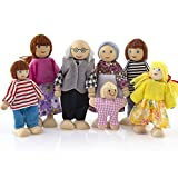 Wooden Furniture Dolls,Amyline House Family Miniature 7 People Doll Toy for Kid Child Wooden Pretend Play People Multicultural Dollhouse Doll Friends