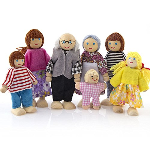 Wenini 7 People Doll Family Set, Wooden Furniture Dolls House Family Miniature 7 People Set Doll Toy for Kid Child (Multicolor❤️)