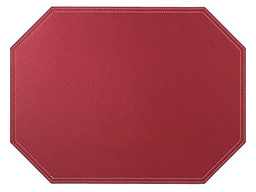 Nikalaz Set de Table, 1 pièce, Octogone, 40 x 30 cm, en Cuir Naturel Recyclé, Décor de Table (Rouge)
