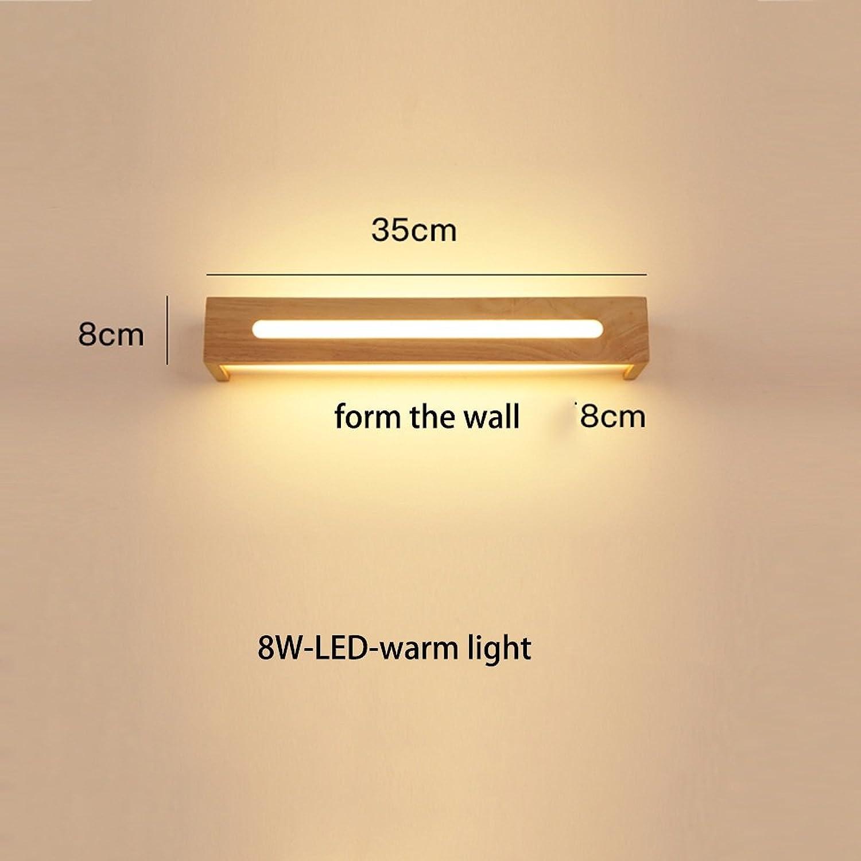 Modern Zeitgenssische LED Wandleuchte Bad Spiegel Vorne Lichter Einfache Mode Massivholz LED Wandleuchte Für Treppenhaus Gang Nachttischlampe Birne eingeschlossen (Farbe   Warmes Licht-35cm-8W)