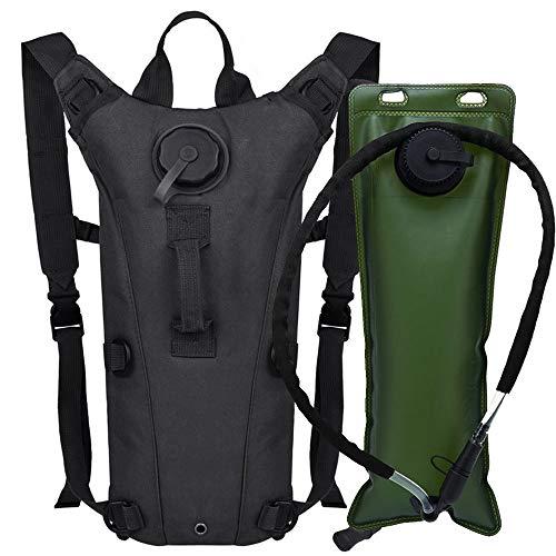 AIMILL Camel Backpack Hydration Pack Bladder 3 Liter,Military Water Hydration Pack Bladder Bladder Camel Backpack Reservoir Daypack,Tactical Bag with Water Bladder for Hiking Camping(Black#2,3l)