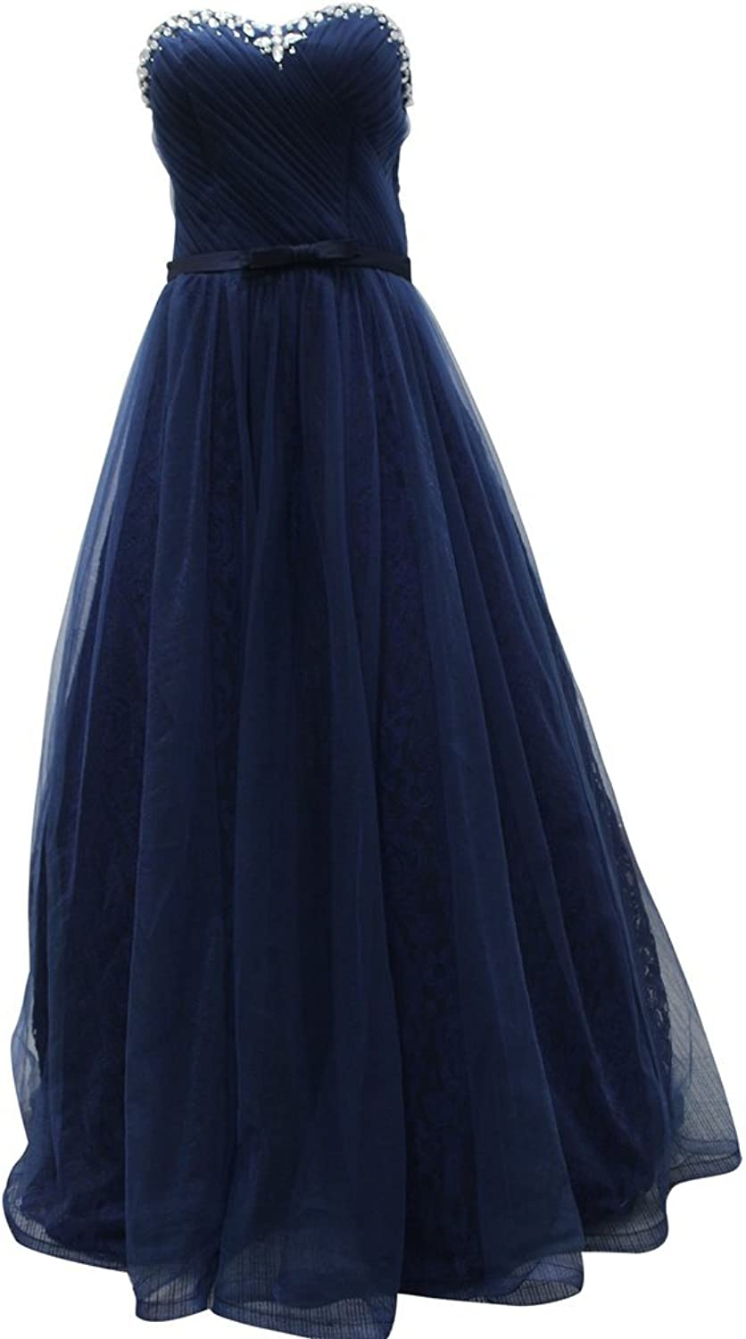 Drasawee Women's Strapless Bride Lace Wedding Dress Evening Gowns Navy bluee US12