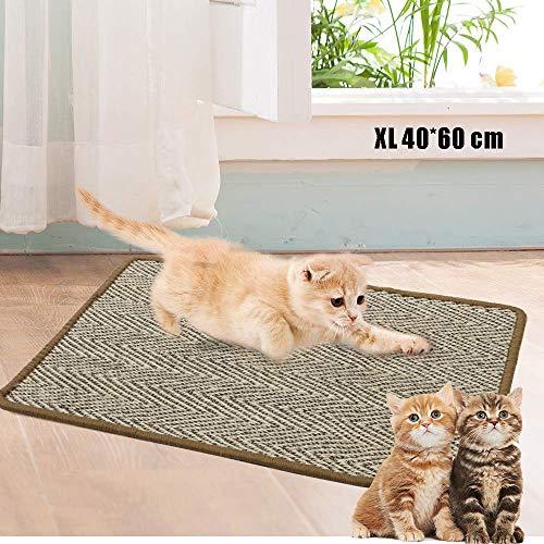 ALLOMN Tappetino per Gatti, Gatti per Gatti per Gatti con Graffi Sisal Naturali Gatto Macinazione Artigli Gatti per Gatti con Protezione Antiscivolo S/M/L/XL (XL : 40×60cm)