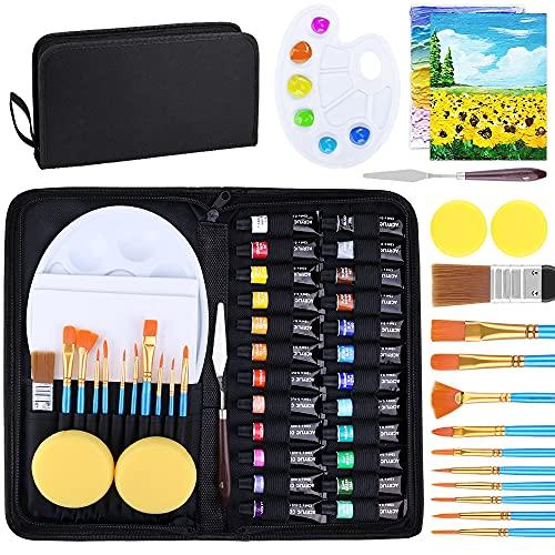 Acrylfarben Set mit Tasche für Leinwand 42 Stück, SUPERSUN 24 x12ml Acrylfarbenset Tube mit 10 Pinselset +2 Leinwand + Mischpalette + Palettenmesser+ 2 Schwämme+Groß...