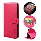 BaiFu Handyhülle für Oppo Reno4 Pro 5G Hülle mit Kartenfach Magnetisch Premium Leder Flip Schutzhülle Tasche Hülle Brieftasche Etui lederhülle Kompatibel mit Oppo Reno4 Pro 5G -Rose rot