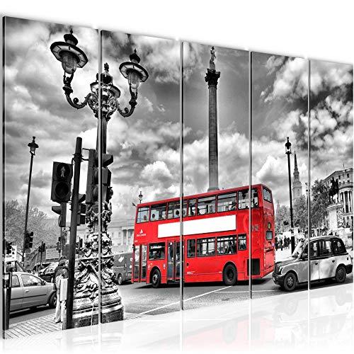 Bilder London Bus Wandbild 150 x 60 cm Vlies - Leinwand Bild XXL Format Wandbilder Wohnzimmer Wohnung Deko Kunstdrucke Rot 5 Teilig - MADE IN GERMANY - Fertig zum Aufhängen 604756a