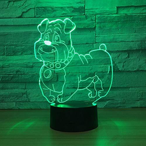 QAZEDC Luz nocturna 3D Día de la madre Regalo de la abuela Perro lindo Lámpara LED 3D Luz de noche MulticolorW Bombilla Luminaria decorativa Rápido(Envío gratis)